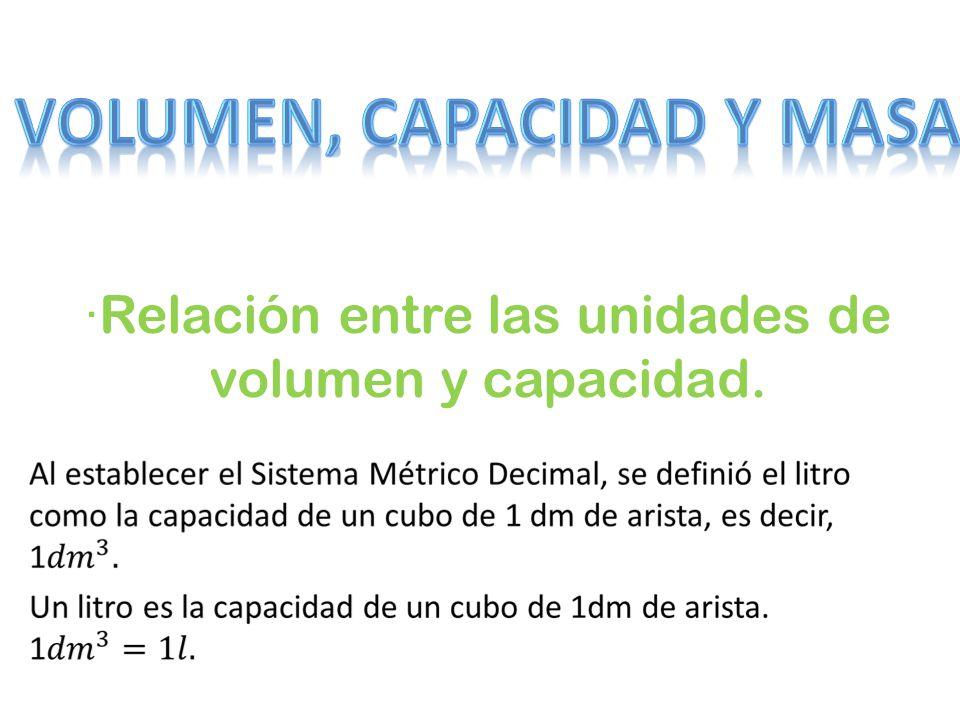 ·Relación entre las unidades de volumen y capacidad.
