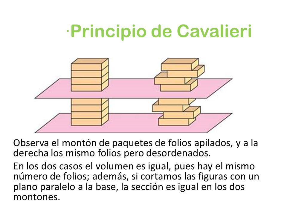 ·Principio de Cavalieri Observa el montón de paquetes de folios apilados, y a la derecha los mismo folios pero desordenados. En los dos casos el volum
