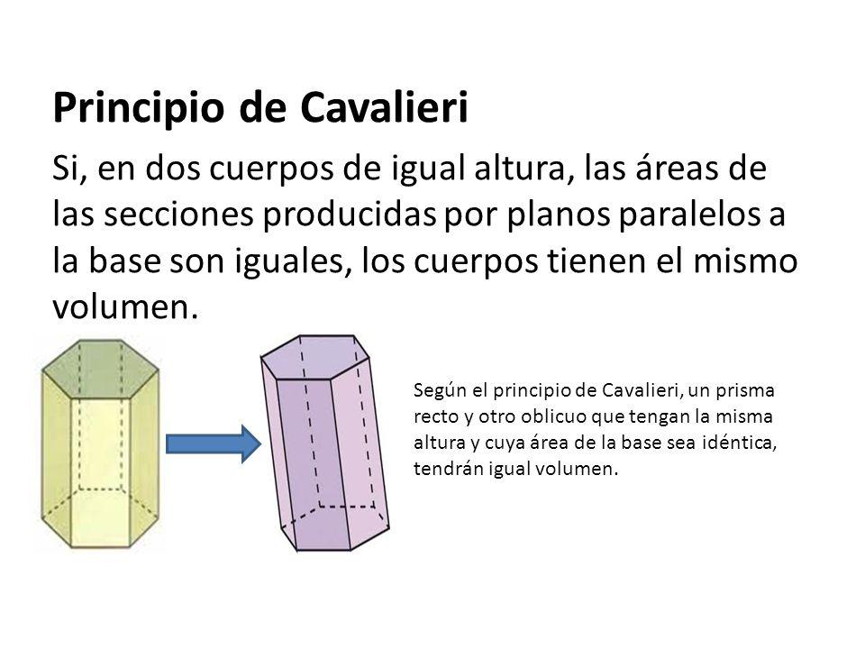 Principio de Cavalieri Si, en dos cuerpos de igual altura, las áreas de las secciones producidas por planos paralelos a la base son iguales, los cuerp