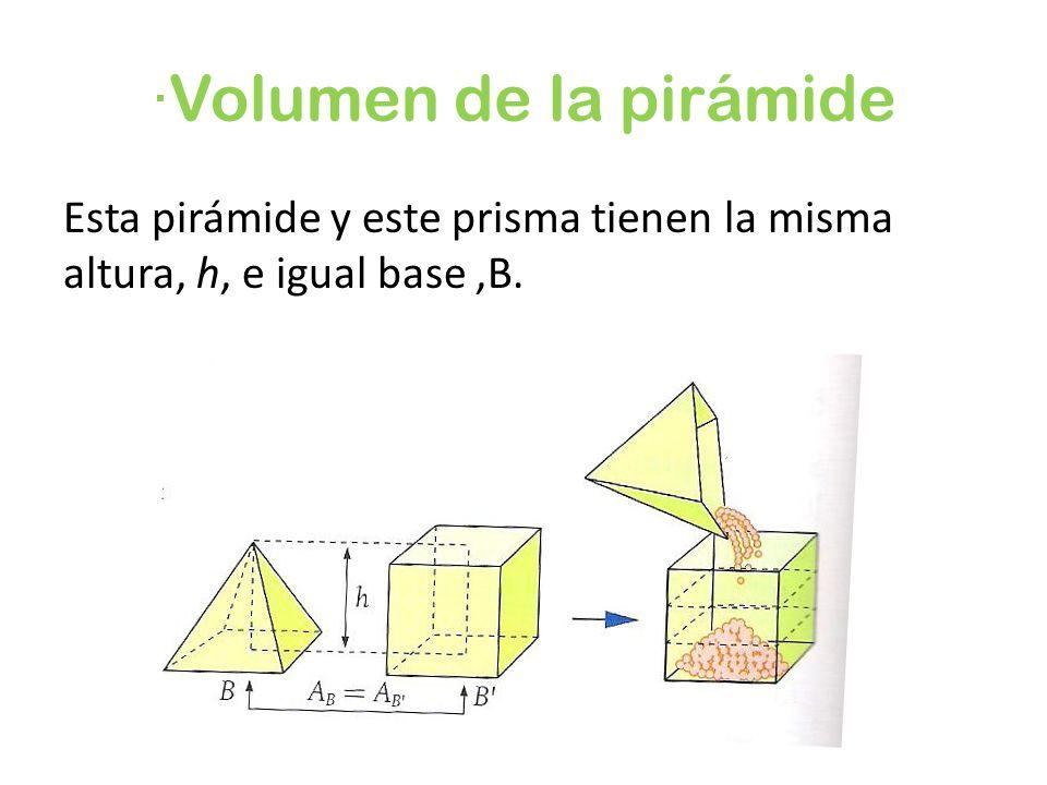 ·Volumen de la pirámide Esta pirámide y este prisma tienen la misma altura, h, e igual base,B.
