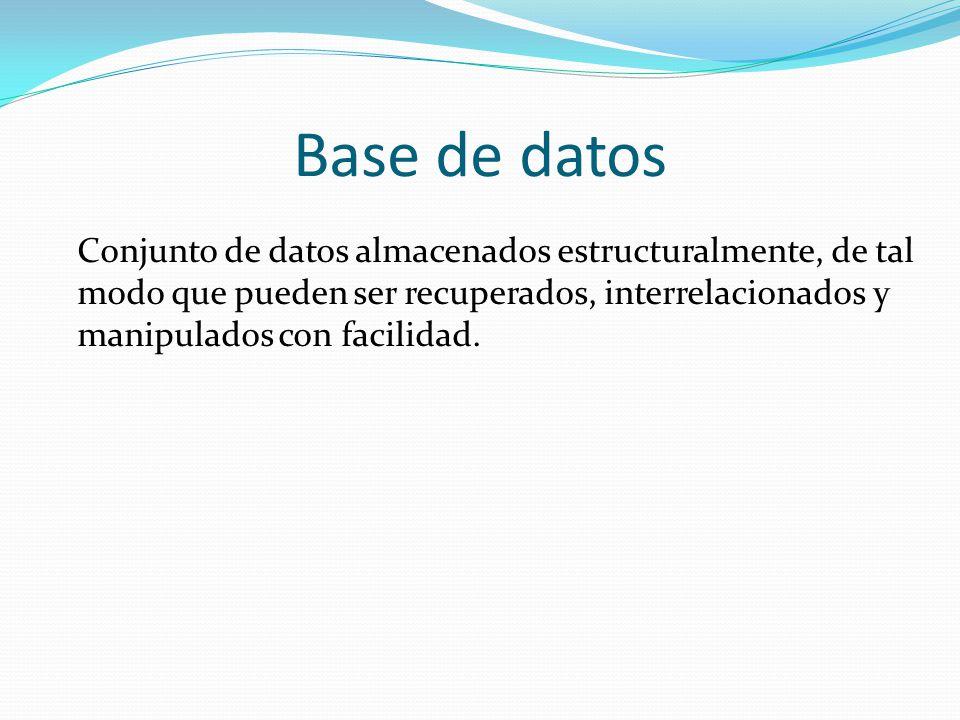Las bases de datos permiten el acceso de uno o varios usuarios a grandes cantidades de información de una forma rápida y racional