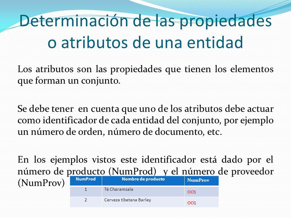 Determinación de las propiedades o atributos de una entidad Los atributos son las propiedades que tienen los elementos que forman un conjunto. Se debe