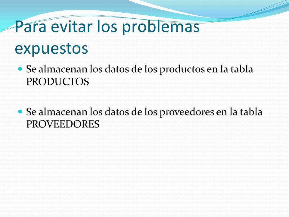 Para evitar los problemas expuestos Se almacenan los datos de los productos en la tabla PRODUCTOS Se almacenan los datos de los proveedores en la tabl