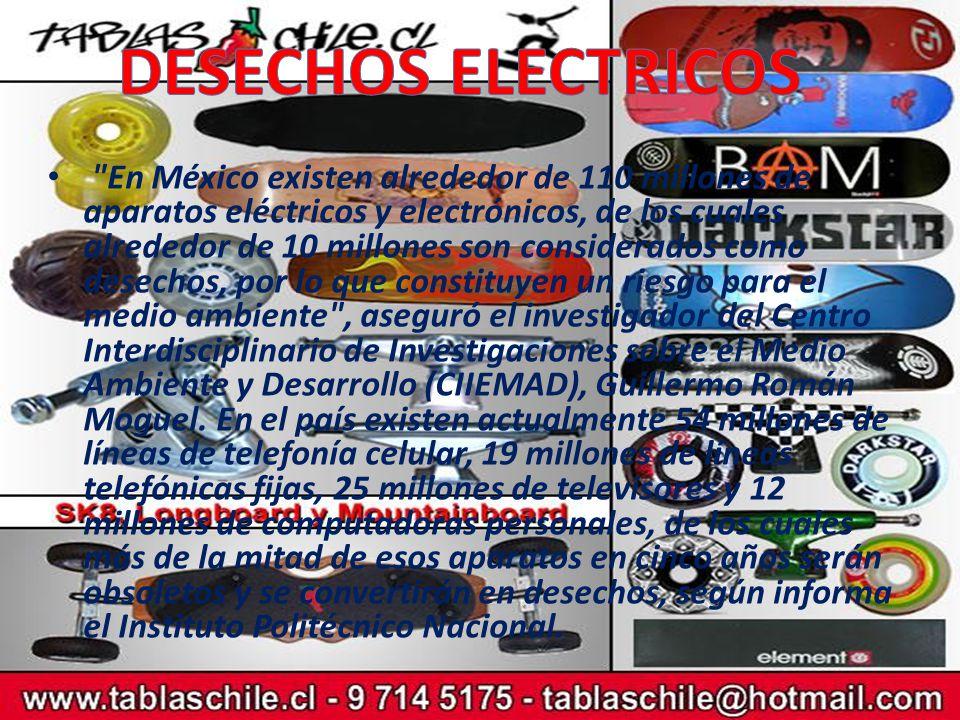 En México existen alrededor de 110 millones de aparatos eléctricos y electrónicos, de los cuales alrededor de 10 millones son considerados como desechos, por lo que constituyen un riesgo para el medio ambiente , aseguró el investigador del Centro Interdisciplinario de Investigaciones sobre el Medio Ambiente y Desarrollo (CIIEMAD), Guillermo Román Moguel.