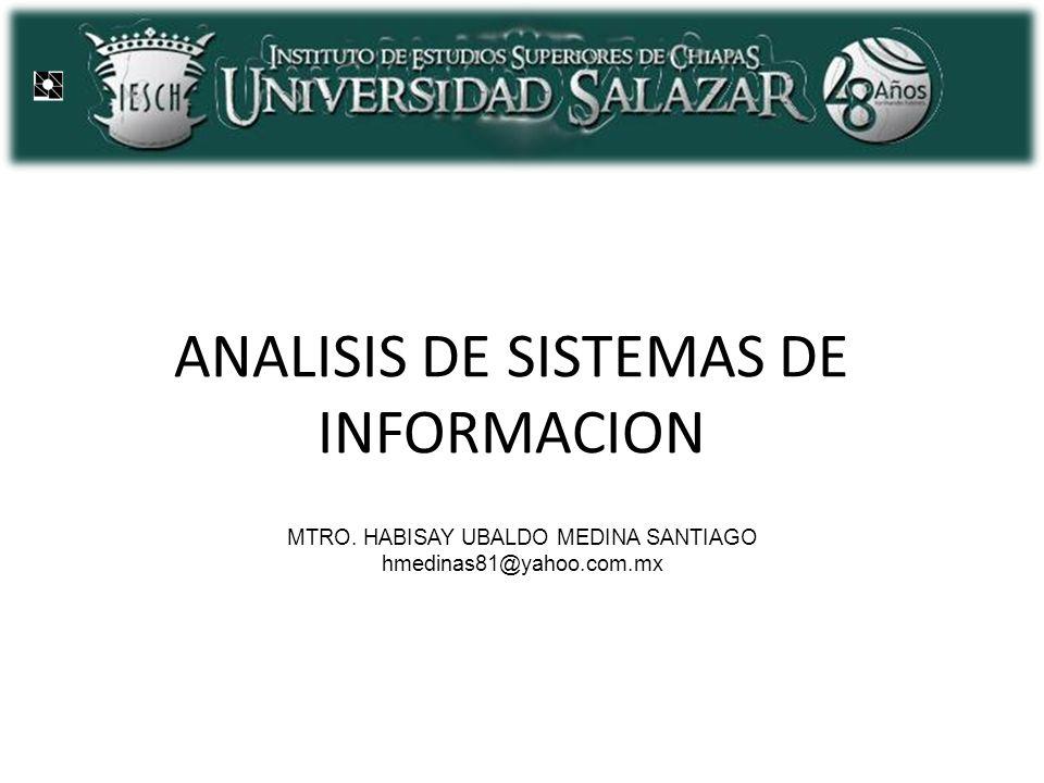 ANALISIS DE SISTEMAS DE INFORMACION MTRO. HABISAY UBALDO MEDINA SANTIAGO hmedinas81@yahoo.com.mx
