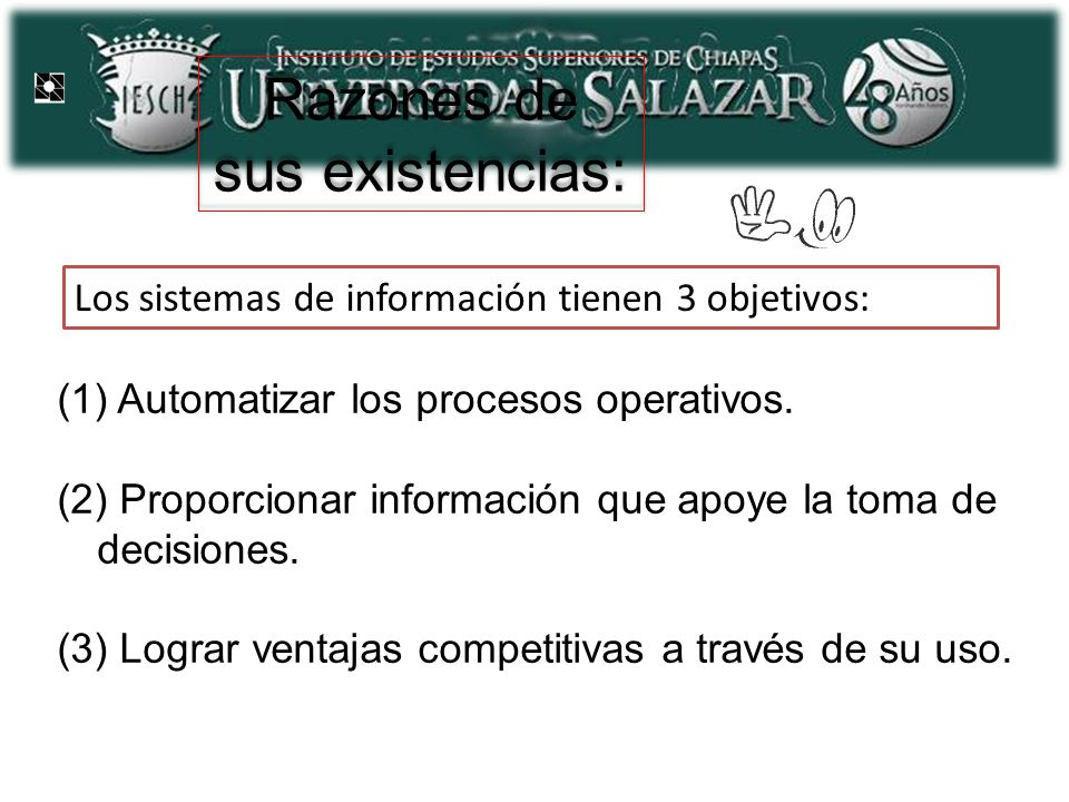 Razones de sus existencias: (1) Automatizar los procesos operativos. (2) Proporcionar información que apoye la toma de decisiones. (3) Lograr ventajas