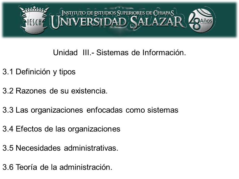 Unidad III.- Sistemas de Información. 3.1 Definición y tipos 3.2 Razones de su existencia. 3.3 Las organizaciones enfocadas como sistemas 3.4 Efectos