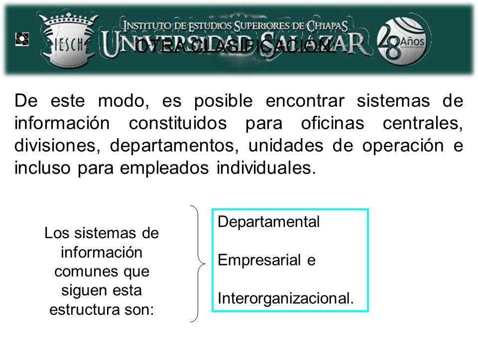 OTRA CLASIFICACIÓN: De este modo, es posible encontrar sistemas de información constituidos para oficinas centrales, divisiones, departamentos, unidades de operación e incluso para empleados individuales.