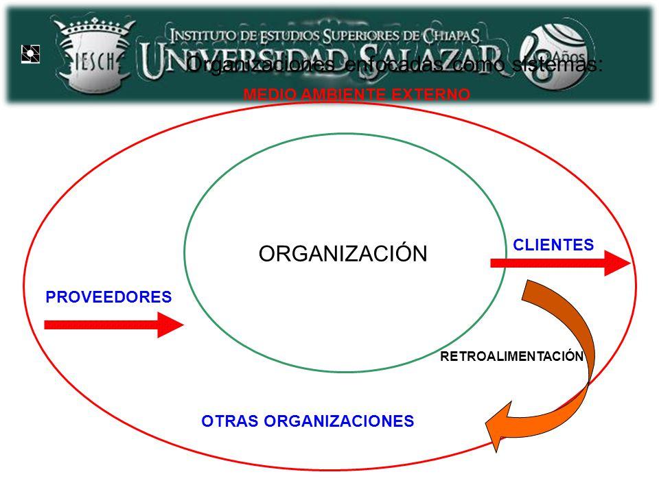 Organizaciones enfocadas como sistemas: ORGANIZACIÓN CLIENTES PROVEEDORES MEDIO AMBIENTE EXTERNO OTRAS ORGANIZACIONES RETROALIMENTACIÓN