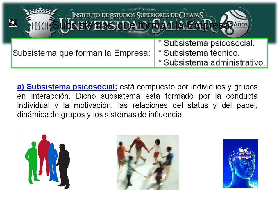 Subsistemas que forman la Empresa: a) Subsistema psicosocial: está compuesto por individuos y grupos en interacción. Dicho subsistema está formado por