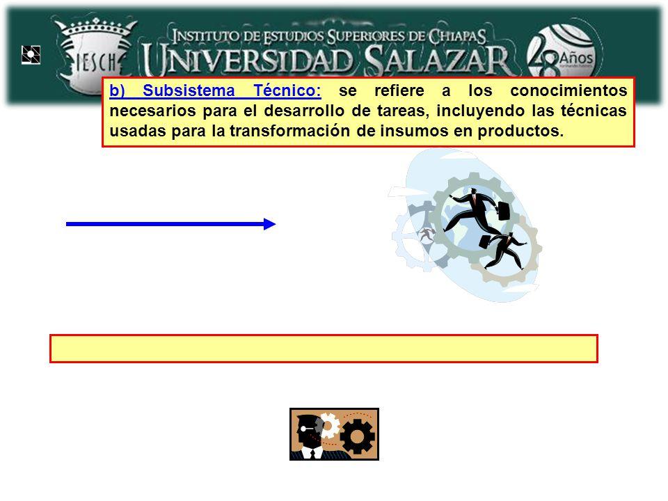 b) Subsistema Técnico: se refiere a los conocimientos necesarios para el desarrollo de tareas, incluyendo las técnicas usadas para la transformación d