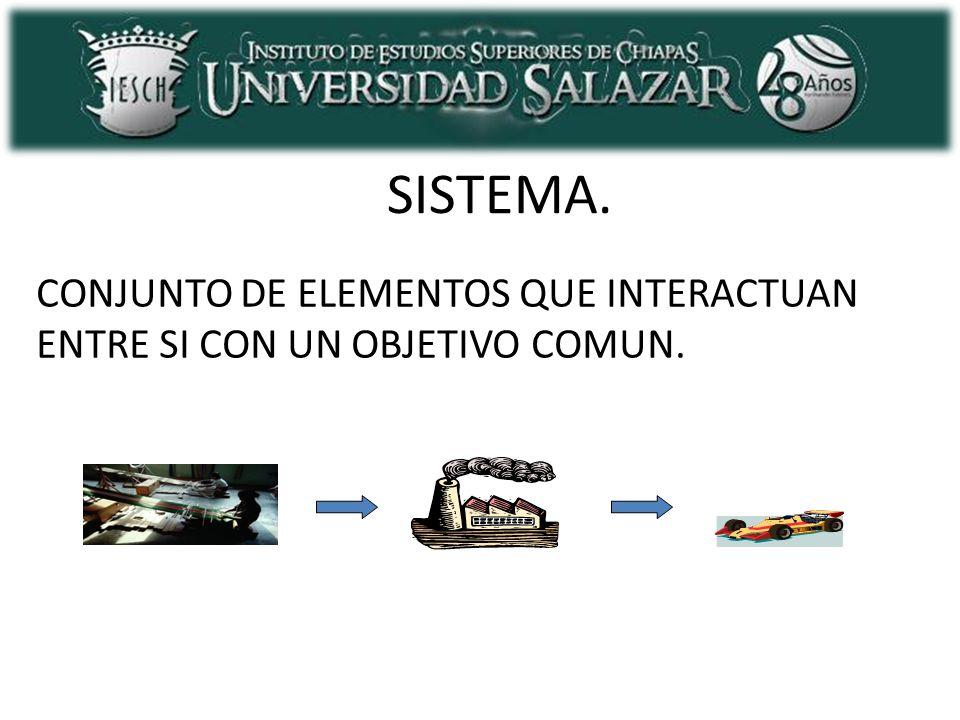 ELEMENTOS DE UN SISTEMA INFORMACION DATOSSISTEMAINFORMACION ENTRADA SALIDA RETROALIMENTACIÓN FRONTERA DEL SISTEMA MEDIO AMBIENTE