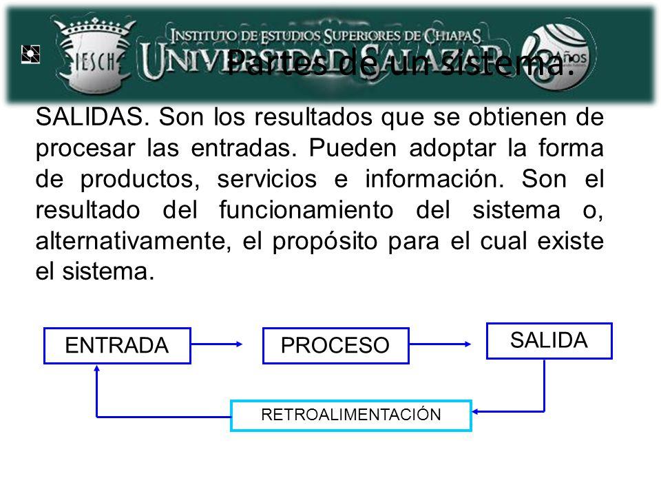 Partes de un sistema: SALIDAS. Son los resultados que se obtienen de procesar las entradas. Pueden adoptar la forma de productos, servicios e informac