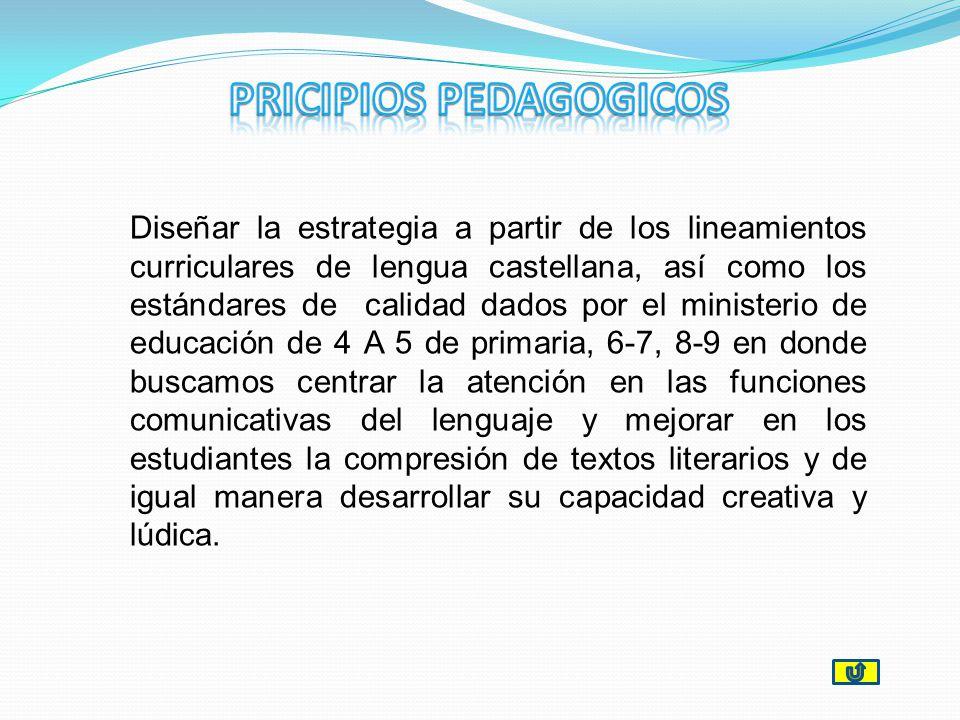 Diseñar la estrategia a partir de los lineamientos curriculares de lengua castellana, así como los estándares de calidad dados por el ministerio de ed