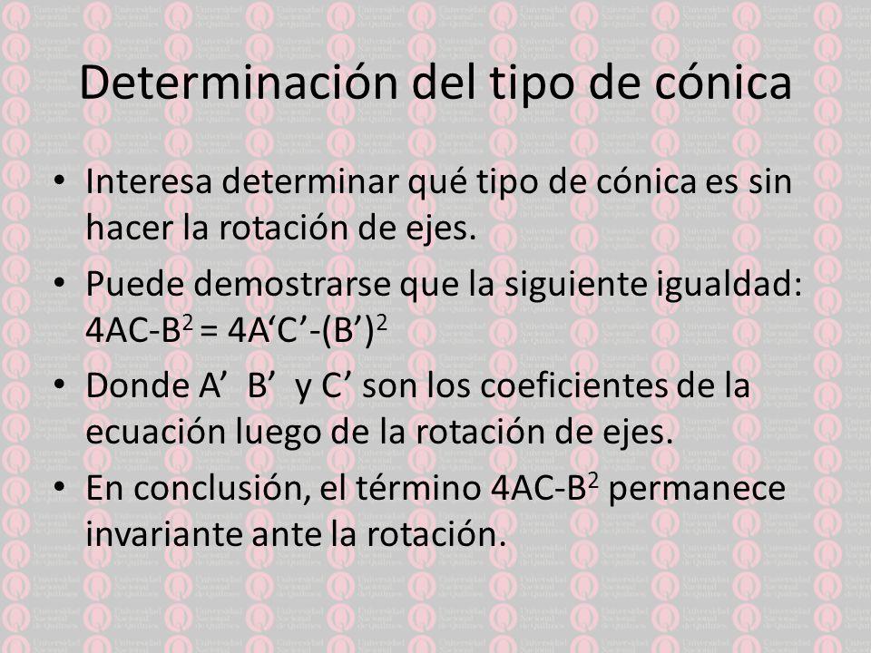 Determinación del tipo de cónica Interesa determinar qué tipo de cónica es sin hacer la rotación de ejes.