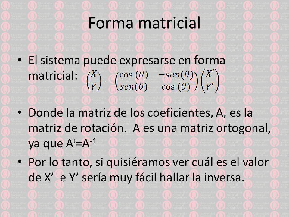 Transformación de la ecuación Reemplazando las ecuaciones de X e Y en la ecuación general de segundo grado queda:
