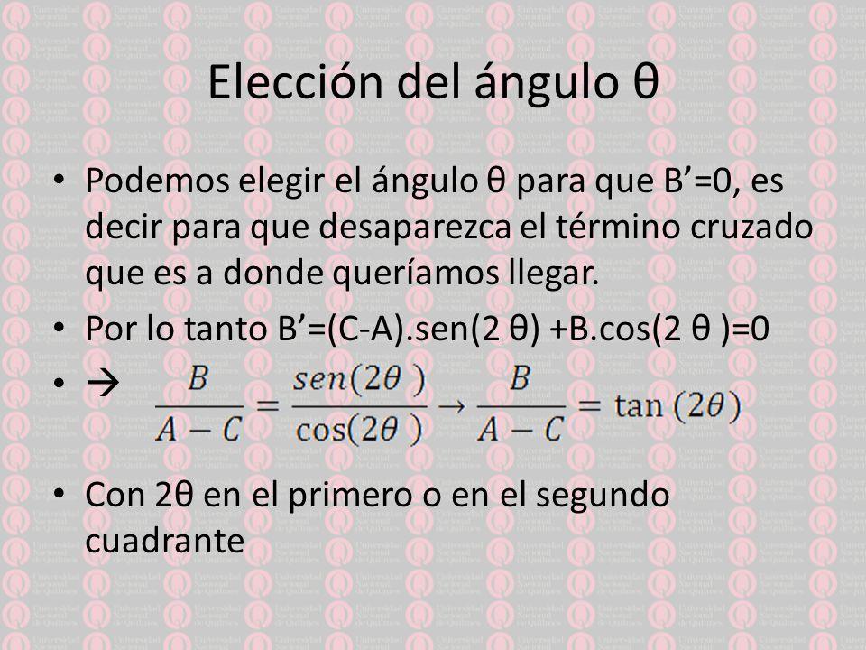 Elección del ángulo θ Podemos elegir el ángulo θ para que B=0, es decir para que desaparezca el término cruzado que es a donde queríamos llegar.