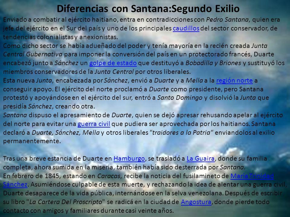 Diferencias con Santana:Segundo Exilio Enviado a combatir al ejército haitiano, entra en contradicciones con Pedro Santana, quien era jefe del ejércit