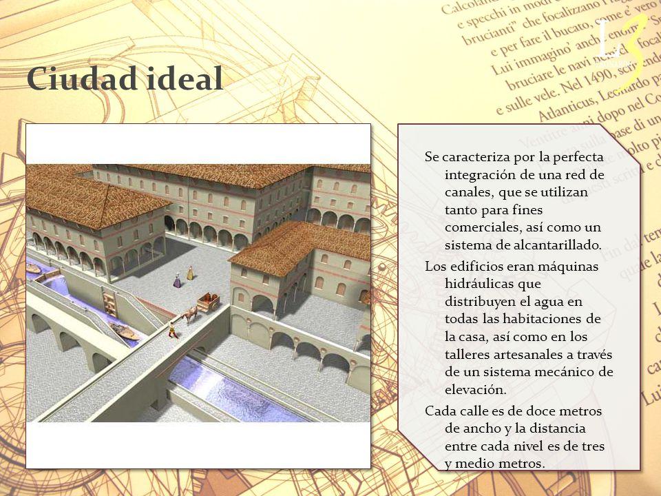 Ciudad ideal Se caracteriza por la perfecta integración de una red de canales, que se utilizan tanto para fines comerciales, así como un sistema de alcantarillado.