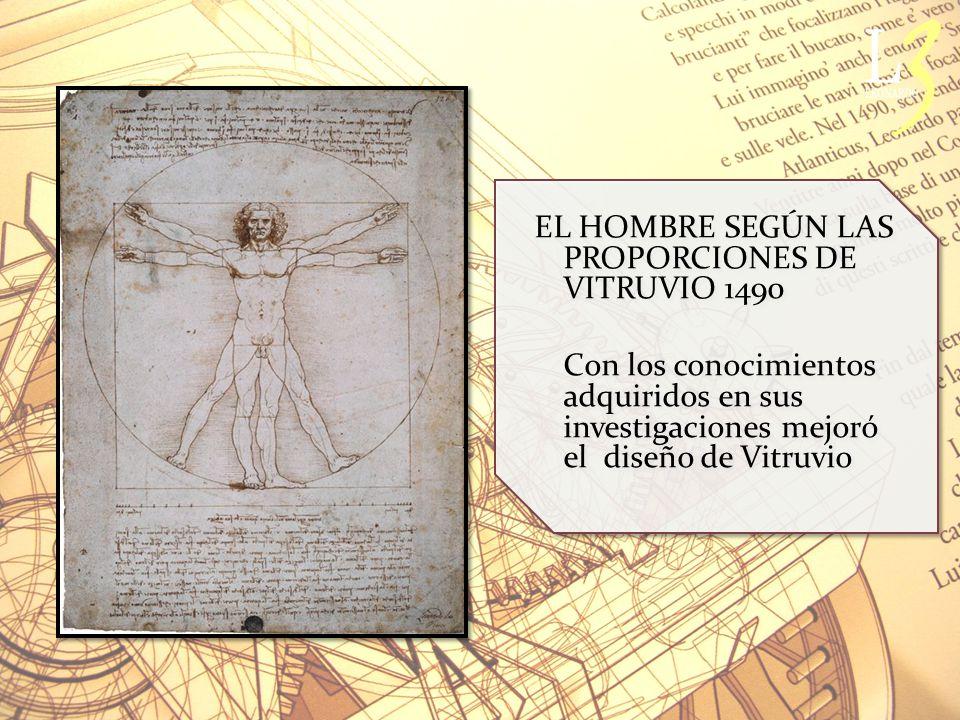 EL HOMBRE SEGÚN LAS PROPORCIONES DE VITRUVIO 1490 Con los conocimientos adquiridos en sus investigaciones mejoró el diseño de Vitruvio EL HOMBRE SEGÚN LAS PROPORCIONES DE VITRUVIO 1490 Con los conocimientos adquiridos en sus investigaciones mejoró el diseño de Vitruvio