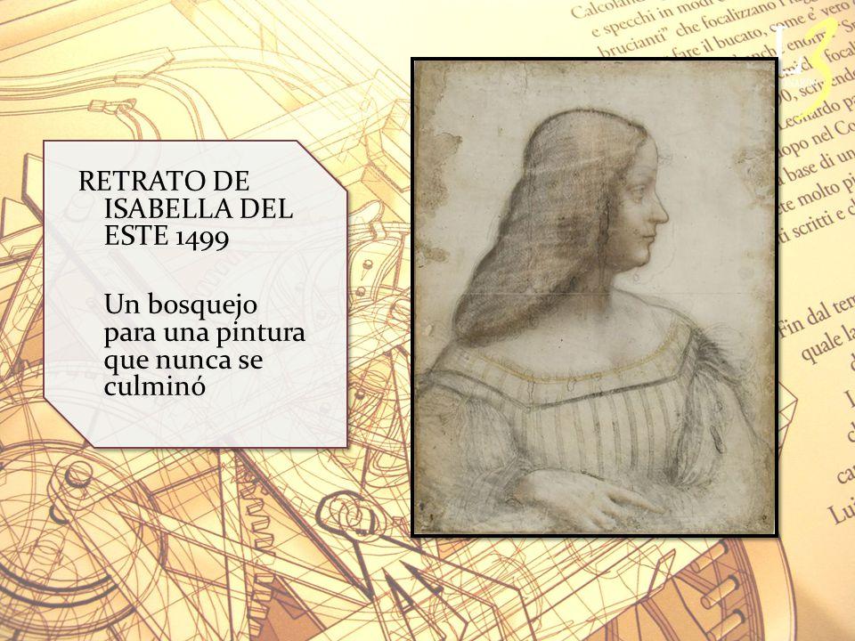 RETRATO DE ISABELLA DEL ESTE 1499 Un bosquejo para una pintura que nunca se culminó RETRATO DE ISABELLA DEL ESTE 1499 Un bosquejo para una pintura que nunca se culminó