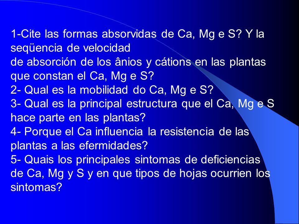 1-Cite las formas absorvidas de Ca, Mg e S? Y la seqüencia de velocidad de absorción de los ânios y cátions en las plantas que constan el Ca, Mg e S?