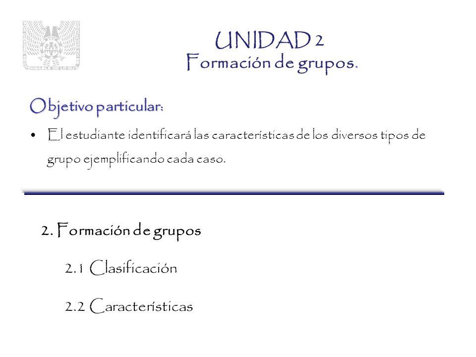 Objetivo particular : El estudiante identificará las características de los diversos tipos de grupo ejemplificando cada caso.