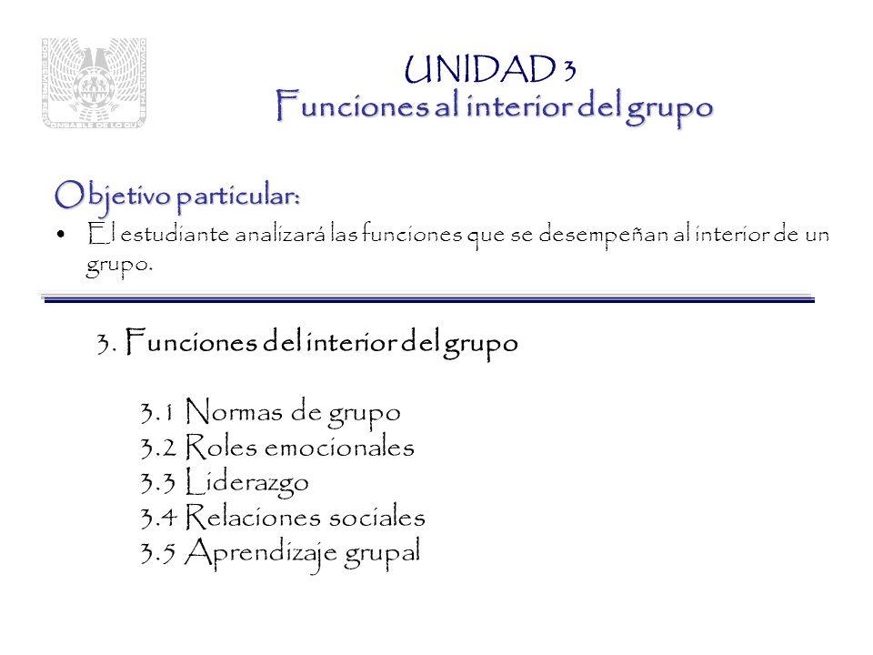 Objetivo particular: –El estudiante distinguirá los diversos fenómenos de grupo.