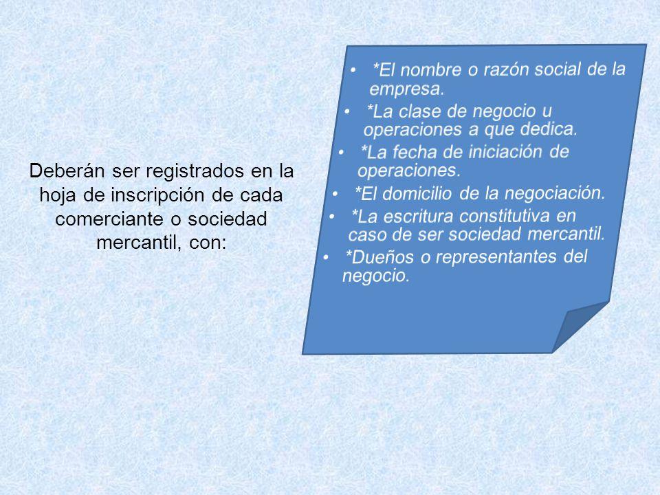 Deberán ser registrados en la hoja de inscripción de cada comerciante o sociedad mercantil, con: