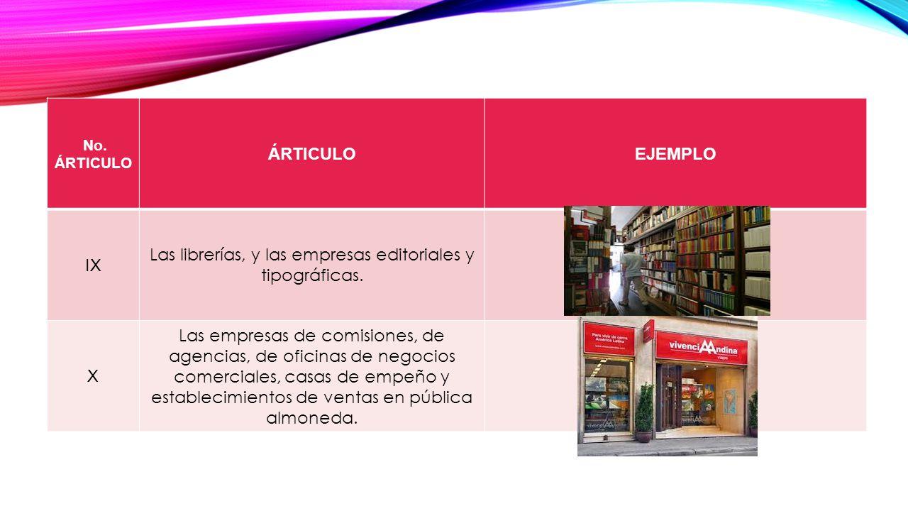 No.ÁRTICULO ÁRTICULOEJEMPLO IX Las librerías, y las empresas editoriales y tipográficas.