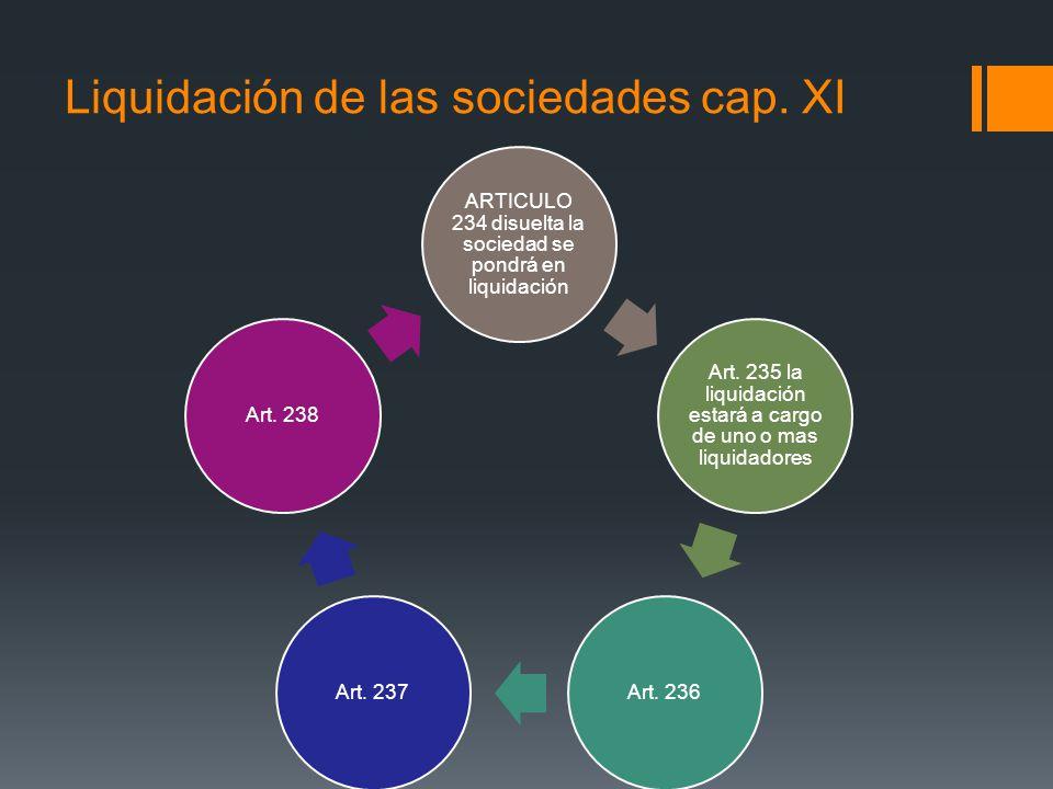 Liquidación de las sociedades cap. XI ARTICULO 234 disuelta la sociedad se pondrá en liquidación Art. 235 la liquidación estará a cargo de uno o mas l