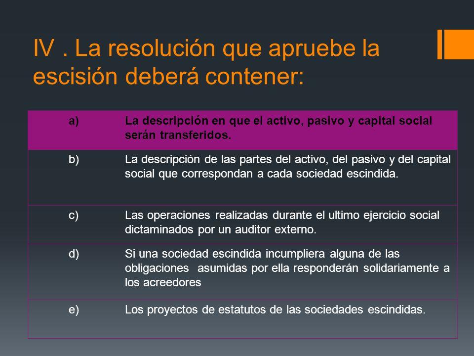 IV. La resolución que apruebe la escisión deberá contener: a)La descripción en que el activo, pasivo y capital social serán transferidos. b)La descrip
