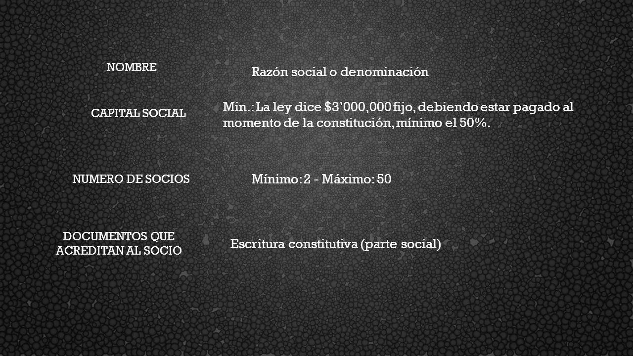 NOMBRE Razón social o denominación CAPITAL SOCIAL Min.: La ley dice $3000,000 fijo, debiendo estar pagado al momento de la constitución, mínimo el 50%