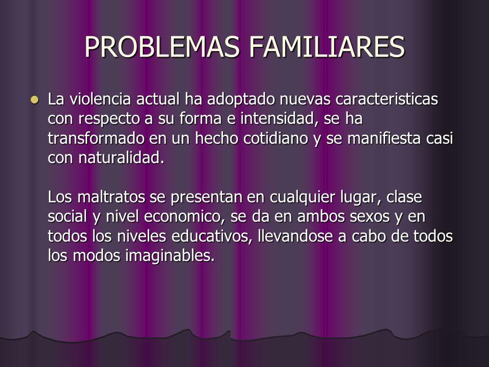 PROBLEMAS FAMILIARES La violencia actual ha adoptado nuevas caracteristicas con respecto a su forma e intensidad, se ha transformado en un hecho cotidiano y se manifiesta casi con naturalidad.