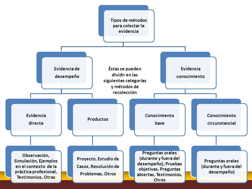 Éstas se pueden dividir en las siguientes categorías y métodos de recolección Tipos de métodos para colectar la evidencia Evidencia de desempeño Evide