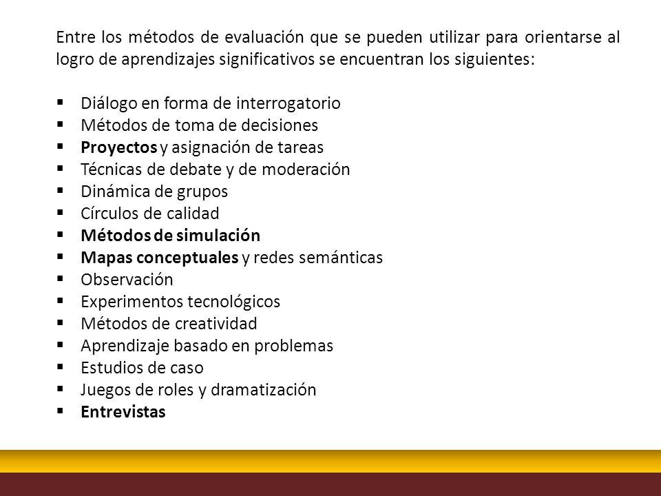 Entre los métodos de evaluación que se pueden utilizar para orientarse al logro de aprendizajes significativos se encuentran los siguientes: Diálogo e