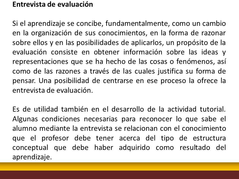 Entrevista de evaluación Si el aprendizaje se concibe, fundamentalmente, como un cambio en la organización de sus conocimientos, en la forma de razona
