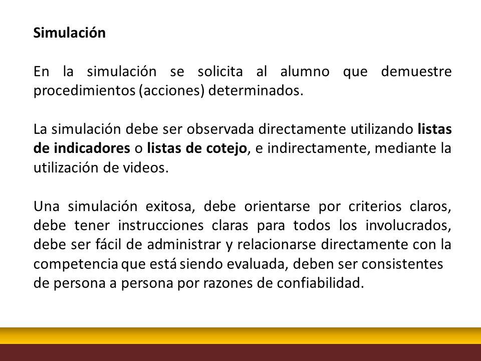 Simulación En la simulación se solicita al alumno que demuestre procedimientos (acciones) determinados. La simulación debe ser observada directamente