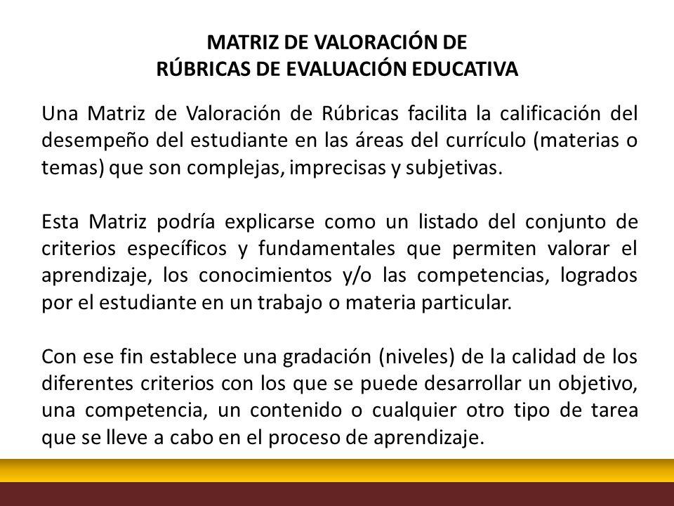 Una Matriz de Valoración de Rúbricas facilita la calificación del desempeño del estudiante en las áreas del currículo (materias o temas) que son compl