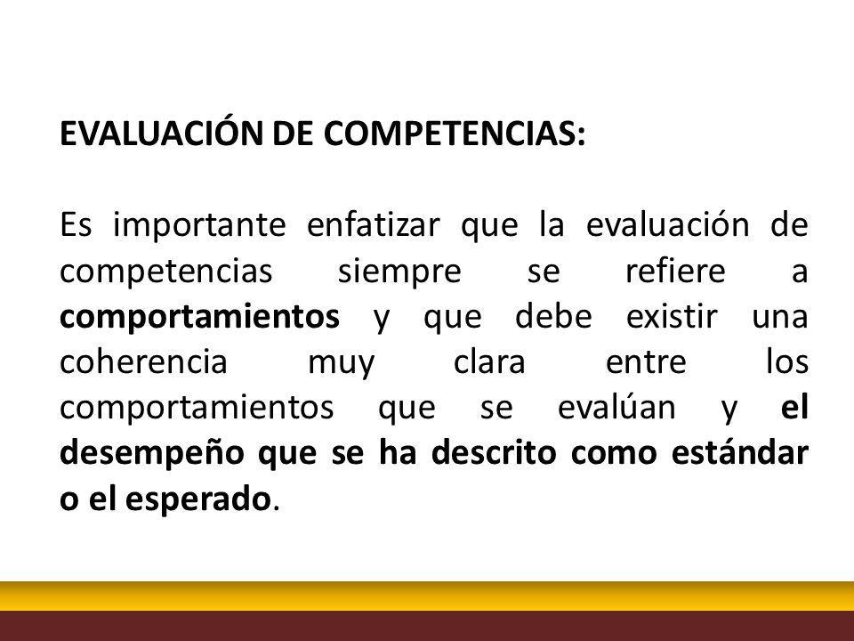EVALUACIÓN DE COMPETENCIAS: Es importante enfatizar que la evaluación de competencias siempre se refiere a comportamientos y que debe existir una cohe