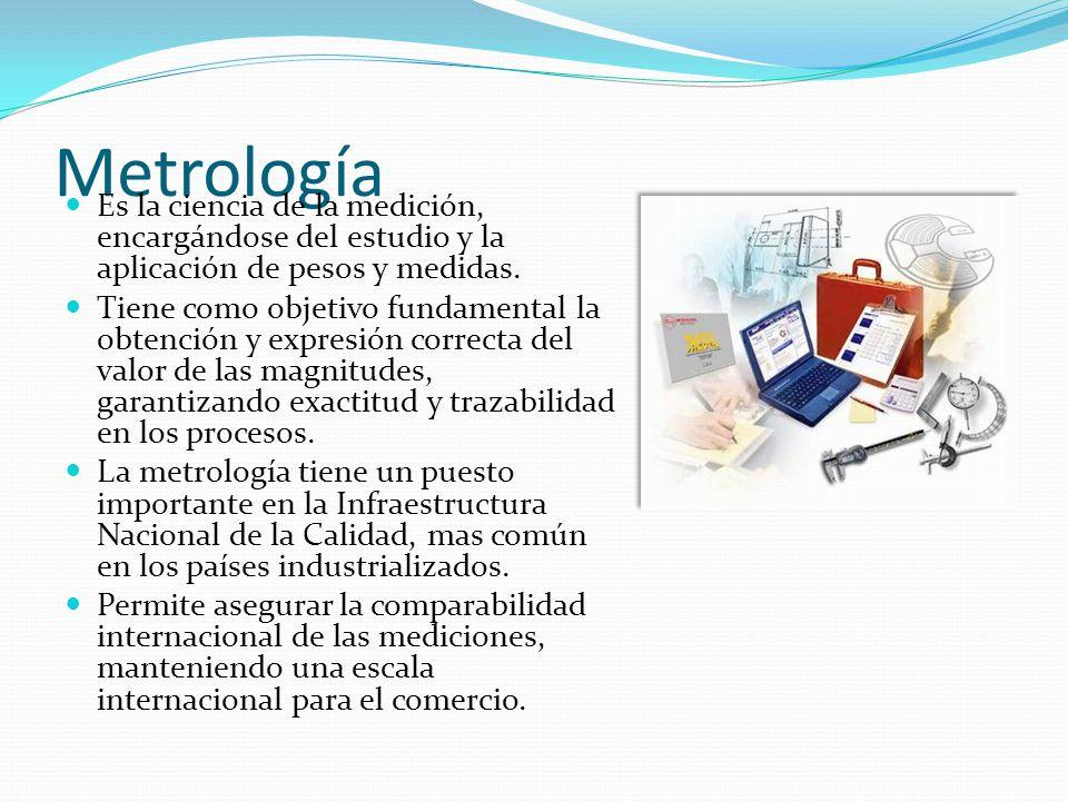 Metrología Es la ciencia de la medición, encargándose del estudio y la aplicación de pesos y medidas. Tiene como objetivo fundamental la obtención y e