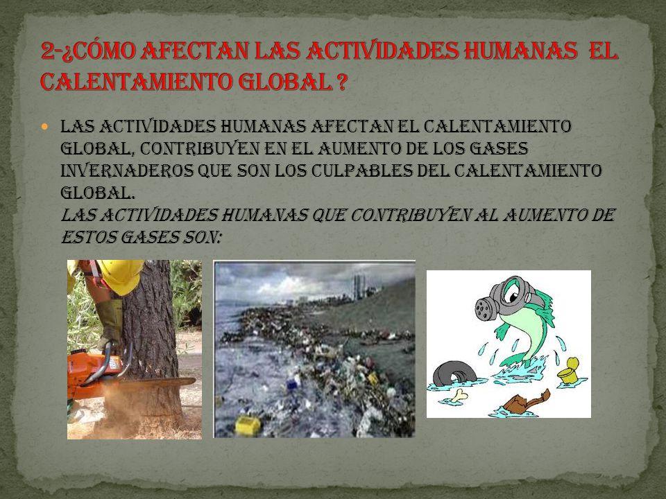 Las actividades humanas afectan el calentamiento global, contribuyen en el aumento de los gases invernaderos que son los culpables del calentamiento global.