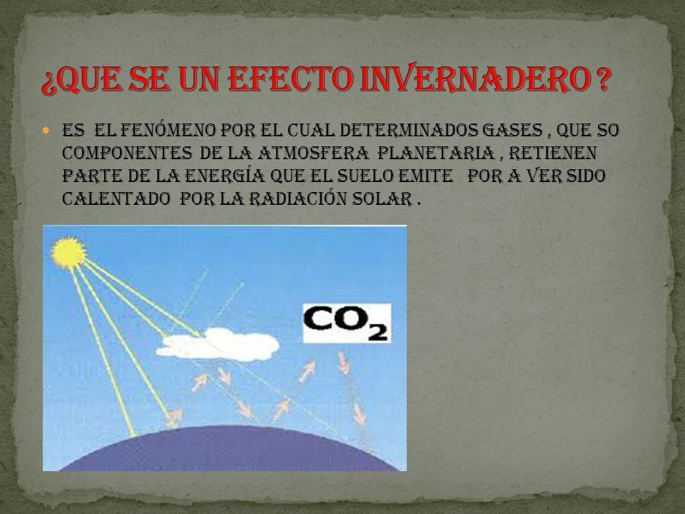 Es el fenómeno por el cual determinados gases, que so componentes de la atmosfera planetaria, retienen parte de la energía que el suelo emite por a ver sido calentado por la radiación solar.