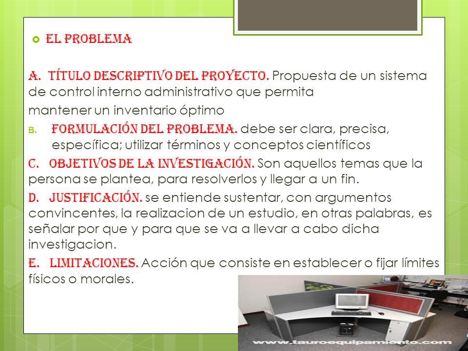 EL PROBLEMA A.Título descriptivo del proyecto.
