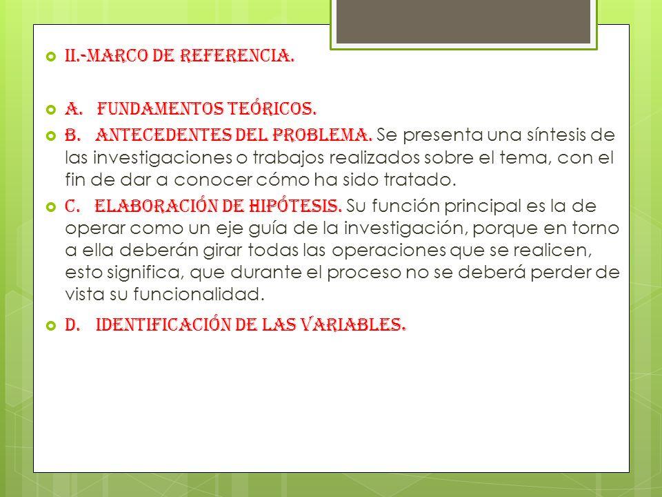 II.-MARCO DE REFERENCIA.A. Fundamentos teóricos. B.