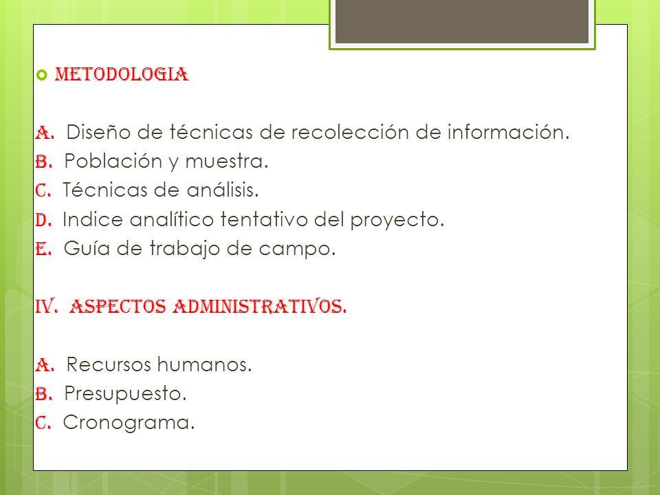 METODOLOGIA A.Diseño de técnicas de recolección de información.