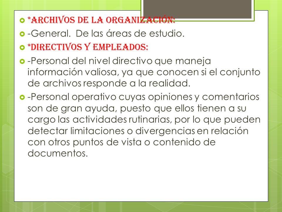 *Archivos de la organización: -General.De las áreas de estudio.
