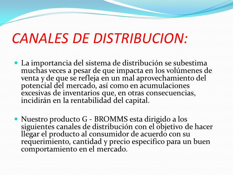 CANALES DE DISTRIBUCION: La importancia del sistema de distribución se subestima muchas veces a pesar de que impacta en los volúmenes de venta y de qu