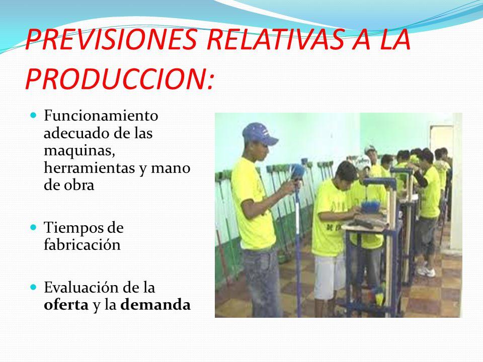PREVISIONES RELATIVAS A LA PRODUCCION: Funcionamiento adecuado de las maquinas, herramientas y mano de obra Tiempos de fabricación Evaluación de la of