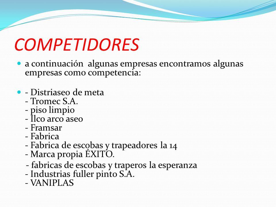 COMPETIDORES a continuación algunas empresas encontramos algunas empresas como competencia: - Distriaseo de meta - Tromec S.A. - piso limpio - Ilco ar